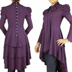 Purple Victorian Romance Bow Tie Ribbon Blouse M